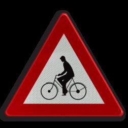 Verkeersbord A25: Oversteekplaats voor fietsers en bestuurders van tweewielige bromfietsen of plaats waar die bestuurders van een fietspad op de rijbaan komen Verkeersbord België A25 - Oversteekplaats voor fietsers A25 pas op, let op, fietsers, bromfietsers, J24
