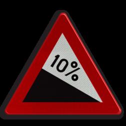 Verkeersbord A3 Gevaarlijke daling (min. 7%). Verkeersbord België A03 - Gevaarlijke daling A03 pas op, let op, dubbele bocht, daling, dalend, RVV J06