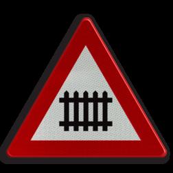 Verkeersbord A41: Overweg met slagbomen. Verkeersbord België A41 - Overweg met slagbomen. A41 pas op, let op, overweg, treinen, J10