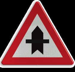 Verkeersbord B15a: Voorrang. De horizontale streep van het symbool mag worden gewijzigd om duidelijker plaatsgesteldheid weer te geven. Verkeersbord België B15a - Voorrang verlenen. B15a B07, Kruising, B6