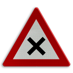 Verkeersbord B17: Kruispunt waar de voorrang van rechts geldt. Verkeersbord België B17 - Kruispunt B17 B07, Kruising, B6