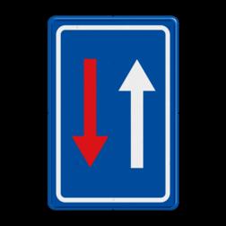 Verkeersbord B21: Smalle doorgang, voorrang ten opzichte van de bestuurders die uit de tegenoverstelde richting komen. Verkeersbord België B21 - Smalle doorgang B21 F06, B22