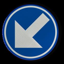 Verkeersbord Gebod voor alle bestuurders het bord voorbij te gaan (passeren) aan de zijden die de pijlen aangeven. Bord wordt alleen gebruikt op middengeleider! (pijl mag dus niet naar links/rechts of omhoog wijzen) Verkeersbord RVV D1A - BELGIË Pijlbord, rond blauw bord, D2