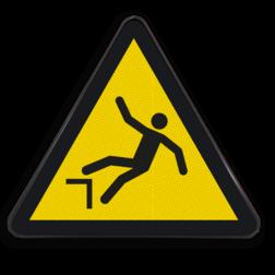 Product W008 - Gevaar voor vallen door hoogteverschil Pictogram W008 - Gevaar voor vallen door hoogteverschil Struikel, vallen, drempel, struikelen, trap, val,