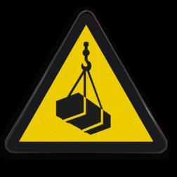 Product W015 - Gevaar voor hangende lasten Pictogram W015 - Gevaar voor hangende lasten lastig, last, hangend, vallend, vallende, gewicht