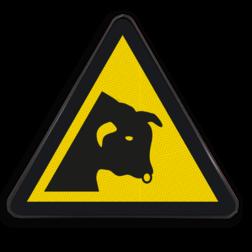 Product Gevaar voor stieren Pictogram W034 - Gevaar voor stieren W034 Koe, stier, vaars, hoorn, horens, dier