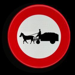 Verkeersbord C13: Verboden toegang voor bestuurders van gespannen. Verkeersbord België C13 - Verboden toegang voor bestuurders van gespannen. C13 verbodsbord, gespannen, paarden