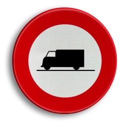 Verkeersbord C23: Verboden toegang voor bestuurders van voertuigen gebruikt voor het vervoer van zaken Verkeersbord België C23 - Verboden toegang voor bestuurders van voertuigen gebruikt voor het vervoer van zaken C23 verbodsbord, C23, vrachtwagen, vracht, vrachtverkeer, bakwagen, bestelbus