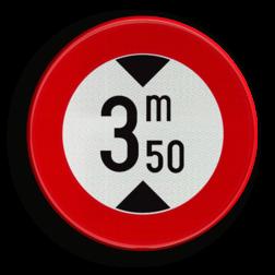 Verkeersbord C29: Verboden toegang voor bestuurders van voertuigen waarvan de hoogte, lading inbegrepen, groter is dan het aangeduide. Verkeersbord België C29 - Verboden toegang voor bestuurders van voertuigen waarvan de hoogte, lading inbegrepen, groter is dan het aangeduide. C29 verbodsbord, C29, hoog, lengte