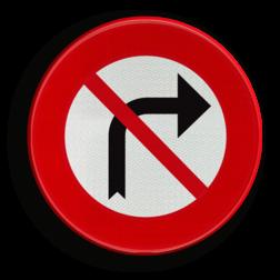 Verkeersbord C31d: Verbod aan het volgend kruispunt af te slaan in de richting door de pijl aangegeven Verkeersbord België C31d - Verbod aan het volgend kruispunt af te slaan in de richting door de pijl aangegeven C31d verbodsbord, pijl, rechts, verborden