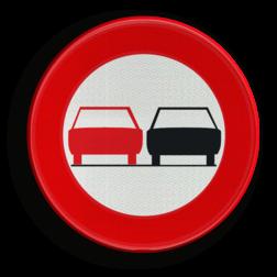 Verkeersbord C35: Vanaf het verkeersbord tot het volgend kruispunt, verbod een gespan of een voertuig met meer dan twee wielen, links in te halen Verkeersbord België C35 - Verbod een voertuig links in te halen C35 verbodsbord, inhalen, verboden, passeren, niet, verboden, f01