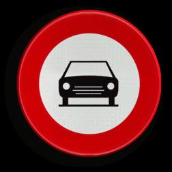Verkeersbord C05: Verboden toegang voor bestuurders van motorvoertuigen met meer dan twee wielen en van motorfietsen met zijspan. Verkeersbord België C05 - Gesloten voor voertuigen C05 verbodsbord, verboden voor auto's, geen auto's, verboden, C06, C6, RVV