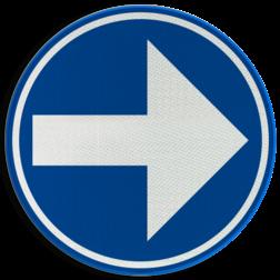 Verkeersbord D01d: Verplicht de door de pijl aangeduide richting te volgen. (hier rechts) Verkeersbord België D01d-rechts - Verplicht rechts afslaan D01d Rijrichtingsbord, D02r, rechterbaan, rechts aanhouden, verplicht, afslaan, verplichte rijrichting