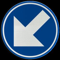 Verkeersbord D01c: Verplicht links aanhouden. Verkeersbord België D01c - Verplicht links aanhouden D01c Rijrichtingsbord, D02l, linkerbaan, links aanhouden, verplicht
