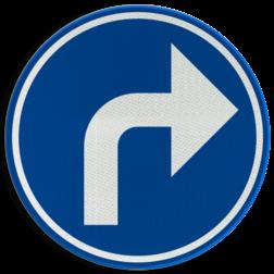 Verkeersbord D01e: Verplichting de door de pijl aangeduide richting te volgen (hier rechts) Verkeersbord België D01e - Verplichting de door de pijl aangeduide richting te volgen (hier rechts) D01e Rijrichtings bord, D05r