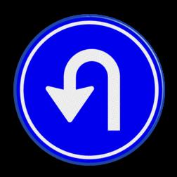 Verkeersbord GEEN officieel verkeersbord Verkeersbord RVV D serie - hier keren pijlbord, rond blauw bord, bord met pijl, pijl links, D5, D5l