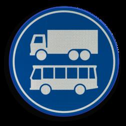 Verkeersbord ** NIEUW RVV - GELDIG vanaf 01-01-2017 ** Rijbaan of rijstrook uitsluitend ten behoeve van lijnbussen en vrachtverkeer. Verkeersbord RVV F19 - Rijbaan of -strook bus en vrachtverkeer F19 nieuw, vrachtauto, bus, rijbaan, rijstrook, busbaan, busstrook