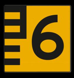 Scheepvaartbord Hoogteaanduiding rechts van de vaarweg. Een hoogteschaal met onderverdeling wordt toegepast wanneer een zekere nauwkeurigheid van aflezing mogelijk en verreist is. Een hoogteschaal plaatst men in principe aan de vanaf een naderend schip gezien stuurboordzijde van de doorvaartopening. Scheepvaartbord BPR G. 5.1 - 1000x1000mm - Hoogteschaal geel/zwart rechts G. 5.1 water, brug, hoogte, waterweg, waterwegen, scheepvaarttekens, verkeerstekens,