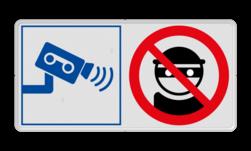 Veiligheidsbord met instructies   2 symbolen liggend Wit, (RAL 9016 - wit), PAS OP!, Terrein betreden op eigen risico, Verboden toegang Art 461, , W002 - Gevaar voor explosieve stoffen, P003 - Vuur, open vlam en roken verboden, M003 - boef, crimineel, stelen, camera, video, dief, verboden
