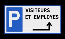 Parkeerbord België - Parkeren met eigen tekst en pijl verkeersbord, belgie, parkeren, bezoekers, visiteurs, medewerkers, employes, pijl,