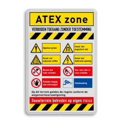 Veiligheidsbord met instructies | ATEX zone met symbolen en teksten veiligheid, instructies, bord, signalisatie, safety, instructions, waarschuwing, warning, danger, gebod, verbod, verboden, toegang, gevaar, vest, helm, schoenen, verplicht, camera, video, bewaking, toezicht, atex, explosie, stoffen, magnetisch, elektrische, spanning