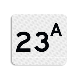 Huisnummerbord Huisnummerbord NEN 1772 Huisnummerbord vlak NEN1772 119x109mm - reflecterend klasse 3 Huisnummerbord, NEN1772, huisnummer, 119x109