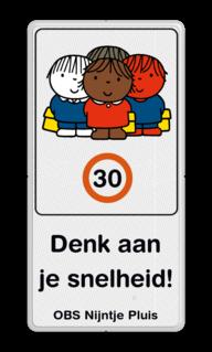 Dick Bruna - Attentiebord Snelheid - groepje kinderen met tekst Nijntje, schoolzone, vvn, a1-30, maximum snelheid, 30 kilometer, Miffy