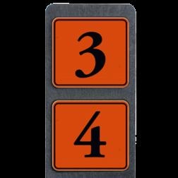 Huisnummerpaal met 2 borden reflecterend 119x109mm buitengebied, huisnummer, nummer, huis, buiten, gebied, paal, Klassiek, huisnummerbord, Dubbel, Huisnummerpaal, Huisnummerpalen