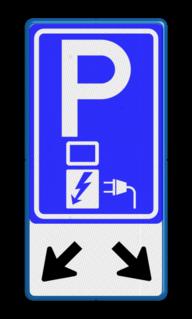 Verkeersbord RVV E08o - oplaadpunt + pijlen - BE04b Wit / blauwe rand, (RAL 5017 - blauw), BW101 SP19 - autolaadpunt, autolaadpunt, na 25 km, oplaadpalen, oplaadpaal, BE04