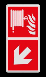Product F002 - Bluslang Brand bord F002 - Blusslang met pijl Brandslang, Omlaag, brandhaspel, brandblusser, F002, B02, pijl, Blusslang