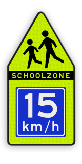 SCHOOLZONE-bord Spelende kinderen + adviessnelheid SCHOOLZONE-bord 700x1400mm met adviessnelheid school, spelende kinderen, matig uw snelheid, overstekende kinderen, J21, 10km, L303