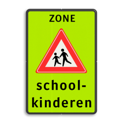 Verkeersbord Schoolzone Verkeersbord Schoolzone J21 + txt Fluor geel-groen / zwarte rand, (RAL 9005 - zwart), Zone, J21, school-, kinderen