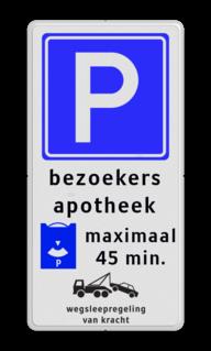 Parkeerbord Eigen terrein - E04 - betaalautomaat - vt461 Wit / blauwe rand, (RAL 5017 - blauw), EIGEN TERREIN (banner), E04, Betaald parkeren - MUNTGELD, betaalautomaat, naast ingang,  Wegsleepregeling van kracht,   Verboden toegang Art. 461