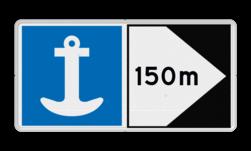 Scheepvaartbord Toestemming te ankeren aan de zijde van de vaarweg waar het bord is geplaatst voor alle categorieën schepen. Spudpalen zijn gelijk gesteld met ankeren. Zijborden of puntborden worden links of rechts aan een hoofdteken toegevoegd. Scheepvaartbord BPR E. 6 + F.2a - Toestemming te ankeren + aan de zijde van de pijl aanmeren, schip, E7, aanleggen, aanwijzingstekens, aanwijzingsborden, waterweg, waterwegen, scheepvaarttekens, verkeerstekens,