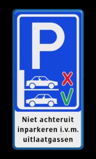 Informatiebord niet achteruit inparkeren - BT21a BT21a Exx_voorruit parkeren, Niet achteruit, inparkeren i.v.m., uitlaatgassen, achterin, verplicht, BT21