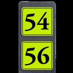 Huisnummerpaal met 2 borden fluorescerend + reflecterend 119x109mm buitengebied, huisnummer, nummer, huis, buiten, gebied, paal, Klassiek, huisnummerbord, Dubbel, Fluor, Huisnummerpaal, Huisnummerpalen