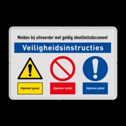 Veiligheidsbord | 3 symbolen + banners Wit, (RAL 9016 - wit), PAS OP!, Terrein betreden op eigen risico, Verboden toegang Art 461, , W002 - Gevaar voor explosieve stoffen, P003 - Vuur, open vlam en roken verboden, M003 - Gehoorbescherming verplicht