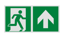Product E002 - Nooduitgang rechtdoor Pictogram E002 - Nooduitgang rechtdoor Nooduitgang, vluchtroute, route, deur, rechts, vluchtroutebord, reddingsmiddelbord, evacuatie, evaluatiebord