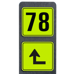 Huisnummerpaal met BORD Fluor Modern met picto - klasse 3 buitengebied, huisnummer, nummer, huis, buiten, gebied, paal, Modern, huisnummerbord, Dubbel, Fluor, Huisnummerpaal, Huisnummerpalen, tekstbord