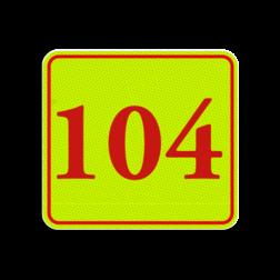 Huisnummerbord Huisnummerbord LOS Huisnummerbord fluorescerend + reflecterend 119x109mm Huisnummerbord, huisnummer, 119x109, Modern, Klassiek lettertype, Fluor