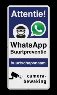 WhatsApp Attentie Buurtpreventie Informatiebord 03 - L209wa-b L209wec Wit / witte rand, (RAL 9016 - wit), WhatsApp Buurtpreventie, Camerabewaking, L209