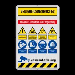 Veiligheidsbord met instructies | 7 regels / 8 symbolen veiligheid, instructies, bord, signalisatie, safety, instructions, waarschuwing, warning, danger, gebod, verbod, verboden, toegang, gevaar, vest, helm, schoenen, verplicht, camera, video, bewaking, toezicht