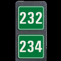 Huisnummerpaal met 2 borden reflecterend 119x109mm buitengebied, huisnummer, nummer, huis, buiten, gebied, paal, Modern, huisnummerbord, Dubbel, Huisnummerpaal, Huisnummerpalen
