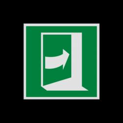 Product E023 - Deur opent door rechts te drukken Pictogram E023 - Deur opent door rechts te drukken vluchten, deuren, rechter escape, vluchtdeur, vluchtroutebord, reddingsmiddelbord, evacuatie, evaluatiebord