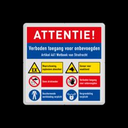 Veiligheidsbord met instructies | 4 regels / 6 symbolen Wit, (RAL 9016 - wit), PAS OP!, Terrein betreden op eigen risico, Verboden toegang Art 461, , W002 - Gevaar voor explosieve stoffen, P003 - Vuur, open vlam en roken verboden, M003 - Gehoorbescherming verplicht