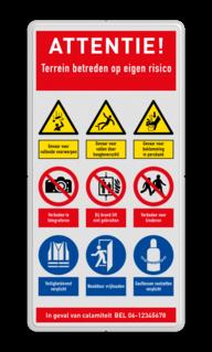 Veiligheidsbord met instructies | 5 regels / 9 symbolen Wit, (RAL 9016 - wit), PAS OP!, Terrein betreden op eigen risico, Verboden toegang Art 461, , W002 - Gevaar voor explosieve stoffen, P003 - Vuur, open vlam en roken verboden, M003 - Gehoorbescherming verplicht