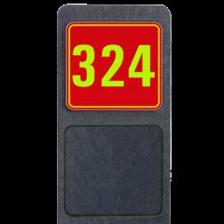 Huisnummerpaal met bord fluorescerend + reflecterend 119x109mm buitengebied, huisnummer, nummer, huis, buiten, gebied, paal, Modern, huisnummerbord