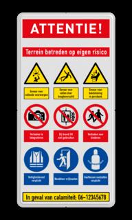 Veiligheidsbord met instructies | 5 regels / 9 symbolen veiligheidsbord, bewerken, gevaar, licht, ontvlambaar, vuur, vlammen, waarschuwing, milieu, explosie, reflecterend, helm, verplicht, gehoorbescherming, combinatie, laarzen, schoeisel, roken, snelheid, stapvoets, verboden, toegang, onbevoegden, bouwterrein, betreden,eigen, risico, vallen, uitglijden, voorwerpen, klem, beknelling, calamiteit