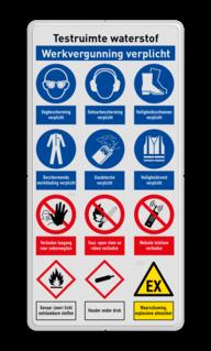 Veiligheidsbord   12 symbolen + banners veiligheidsbord, bewerken, gevaar, licht, ontvlambaar, vuur, vlammen, waarschuwing, milieu, explosie, reflecterend, helm, verplicht, gehoorbescherming, combinatie, laarzen, schoeisel, roken, snelheid, stapvoets, verboden, toegang, onbevoegden, bouwterrein, betreden,eigen, risico, vallen, uitglijden, voorwerpen, klem, beknelling, calamiteit