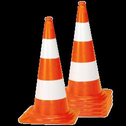 Afzetkegel/pylon 750mm - set van 5 stuks - oranje/wit pion, pionnen, kegels, pilon, oranje, hoedje, afzet, verkeer, pylon, kegel